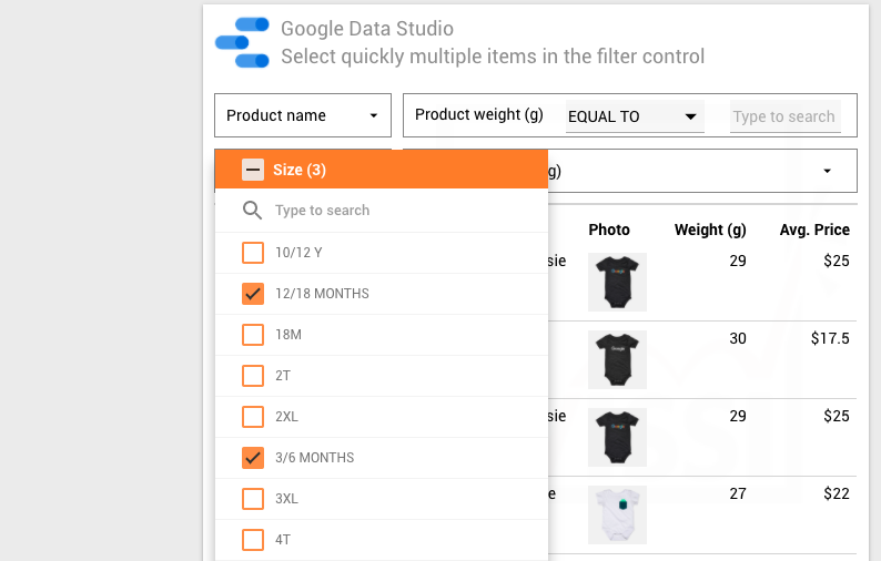 Google Data Studio filter control – Tip to reduce the number of item selections