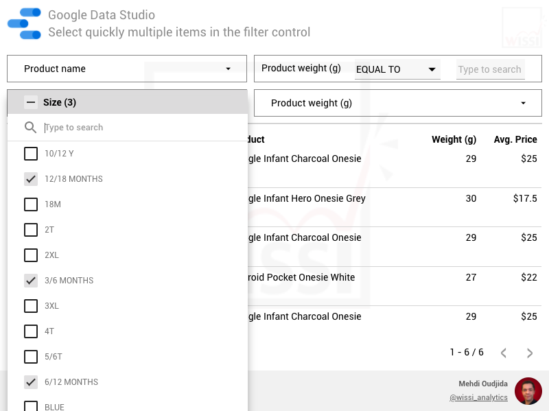 Google Data Studio filter control - Tip to reduce the number of item selections
