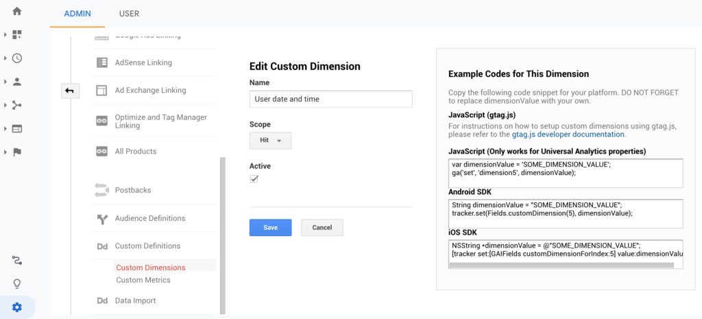 Users specific timing behaviors inside Google Data Studio for an international audience - Custom dimension