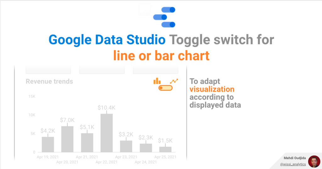 Google Data Studio toggle switch to choose between line and bar chart