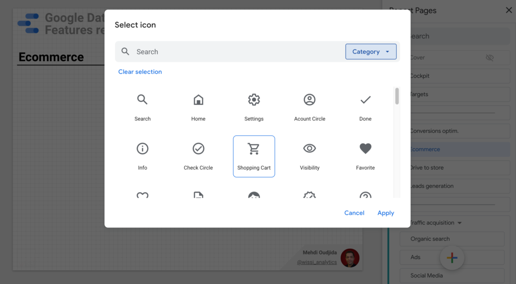 Icon for Data Studio pages and sections