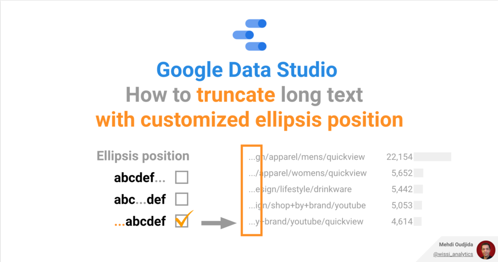 Google Data Studio - How to truncate long text with customized ellipsis position