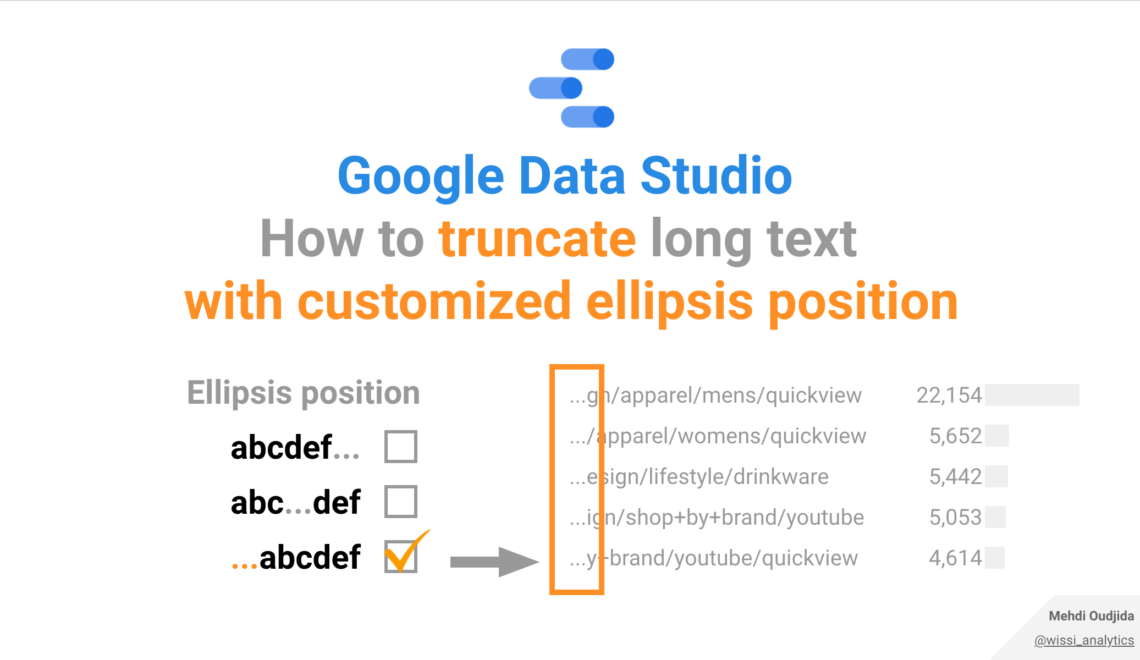 Google Data Studio – How to truncate long text with customized ellipsis position